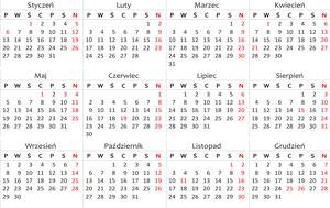 Kalendarz wydarzeń na rok 2014